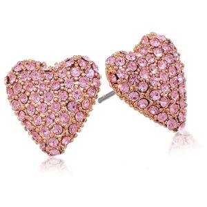 Betsey Johnson Rose Gold Pave Heart Stud Earrings
